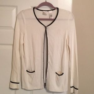 Emma James dress cardigan, ivory & black. Size Med